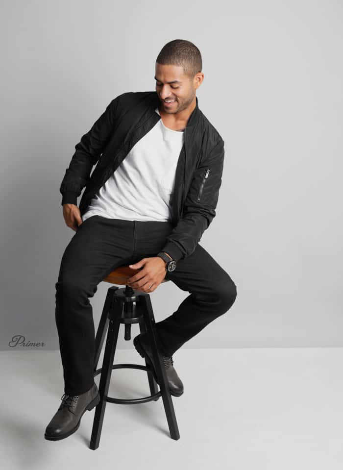 black bomber white tshirt black jeans boots LA minimalism fashion