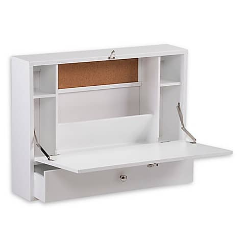 Image of Southern Enterprises Wall Mount Folding Laptop Desk in Fresh White