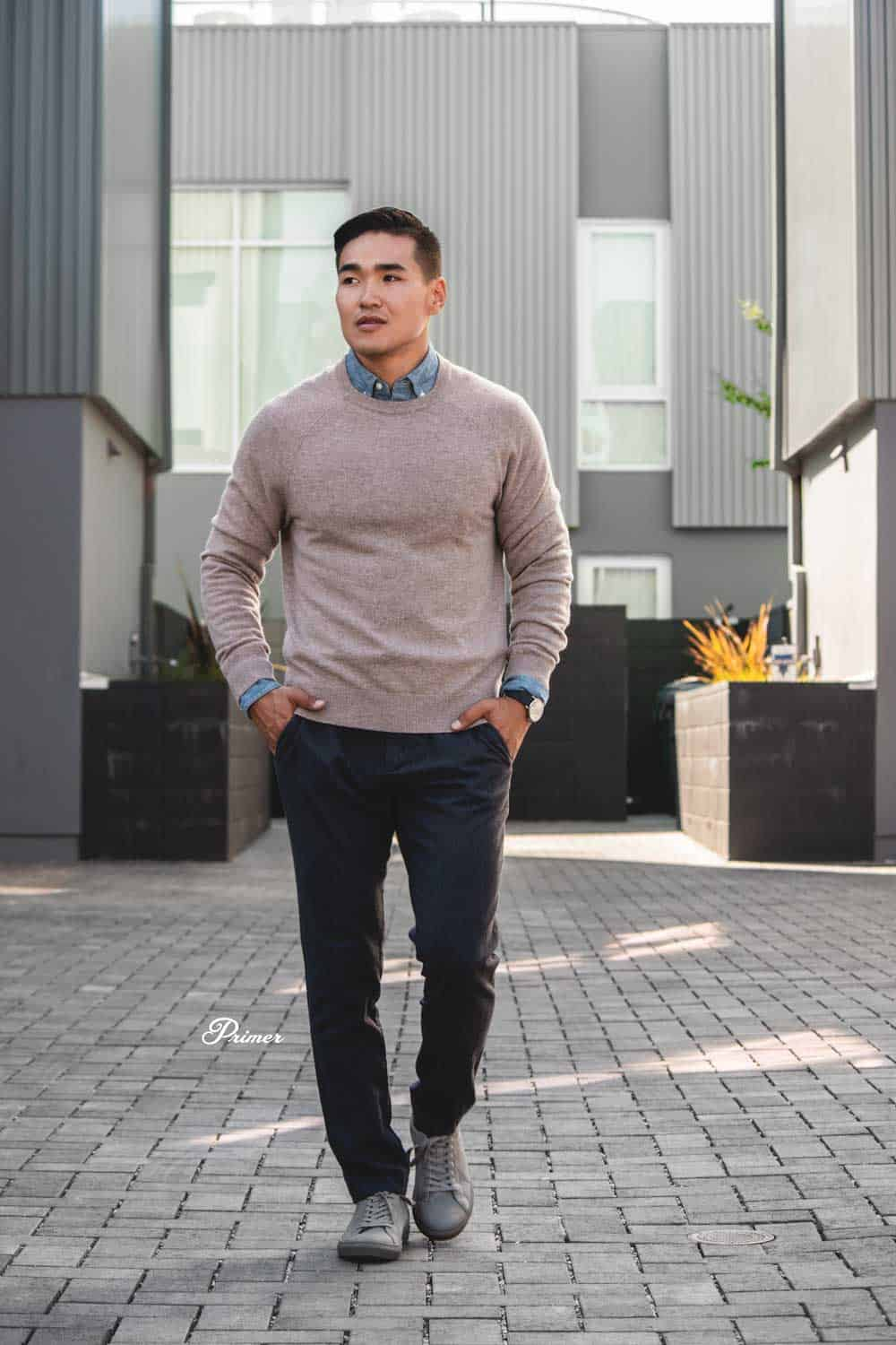 men's fall fashion   camel sweater chambray shirt target pants target gray monochrome sneakers