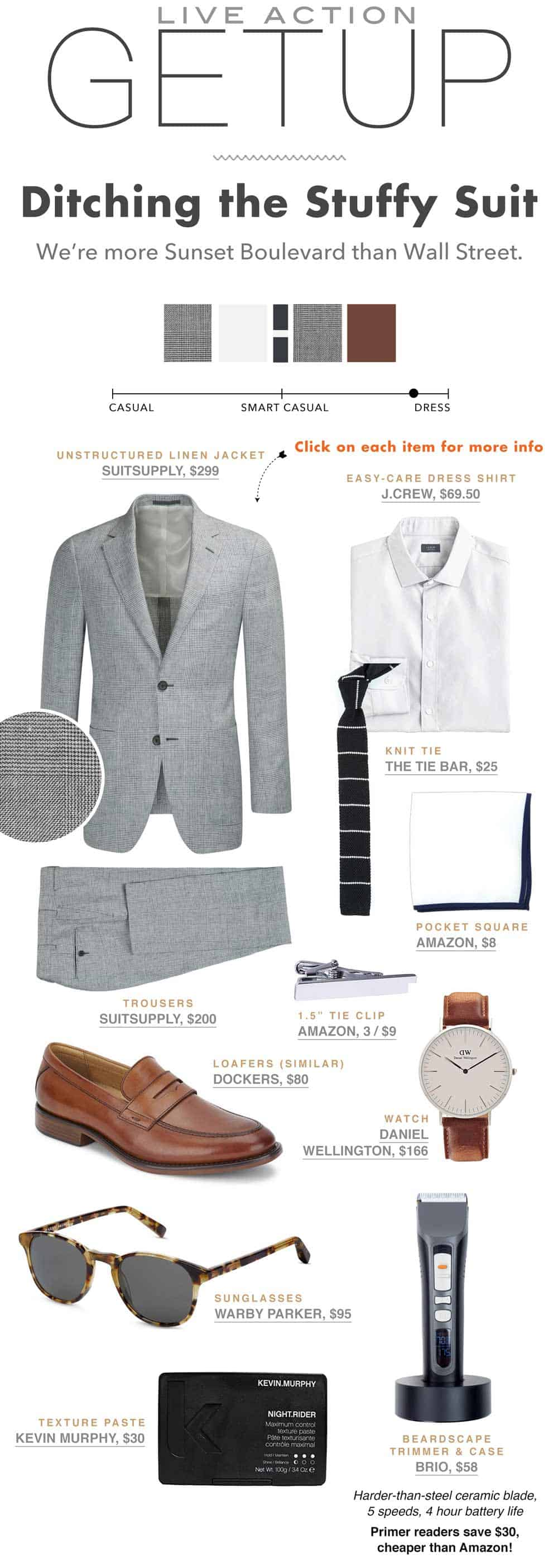 Primer The Getup - Gray Linen Suit brown loafers knit tie outfit inspiration flatlay