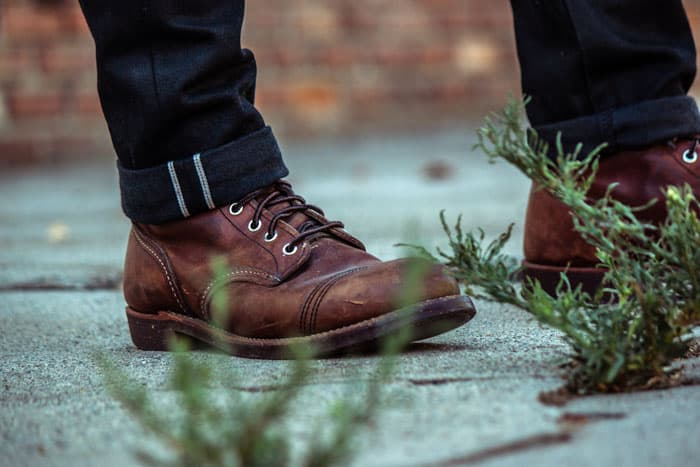 red wing iron ranger with black selvedge denim