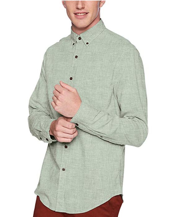 green textured button down shirt