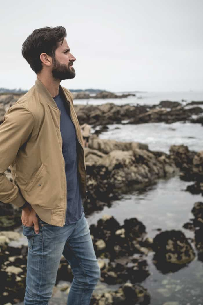 men khaki jacket style inspiration beard