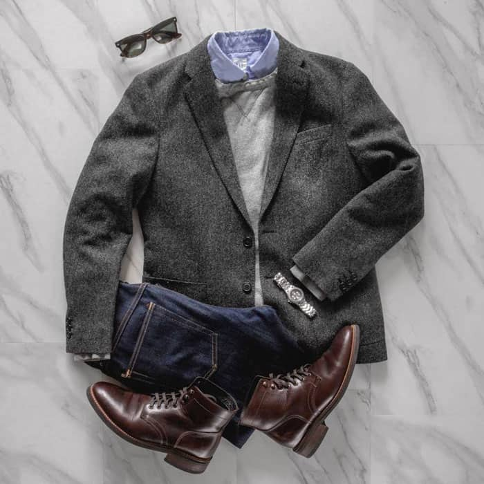 men smart casual outfit flatlay
