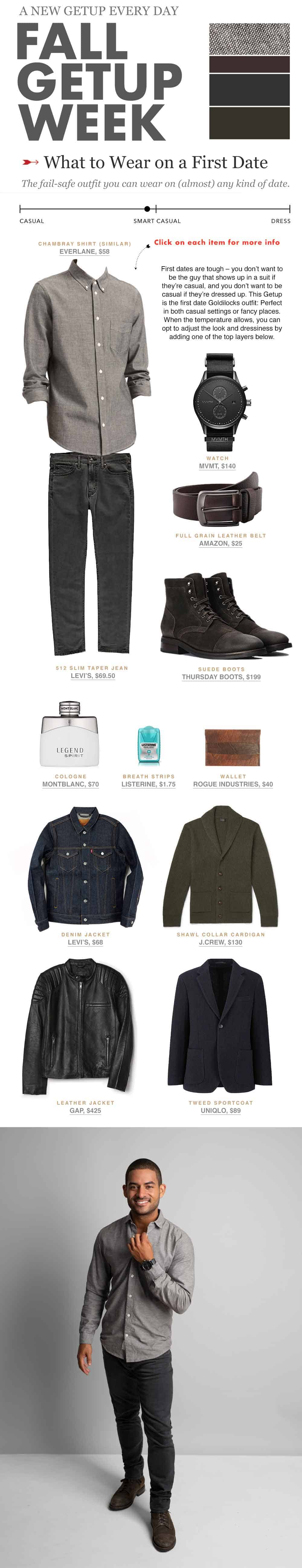 what to wear on a first date   men's outfit ideas Fall Getup Week infographic