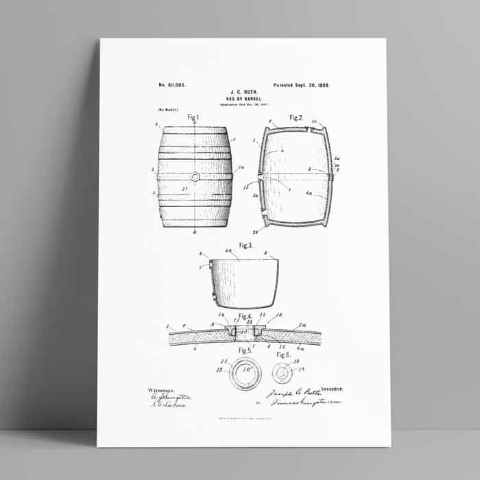 whiskey wine barrel patent art download