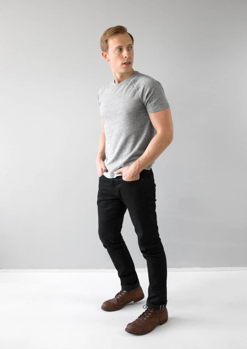 gray t shirt black selvedge jeans brown iron ranger boots