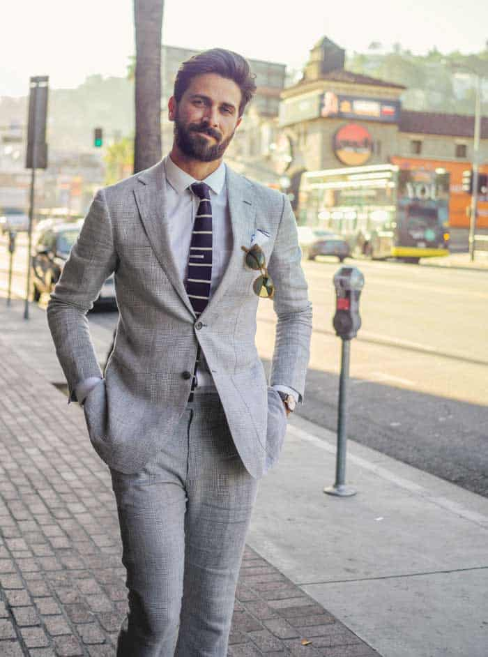 dressed up - man in gray suit with knit tie -men's fashion