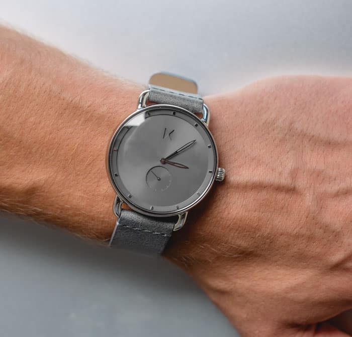 mvmt gotham watch gray on gray leather watch