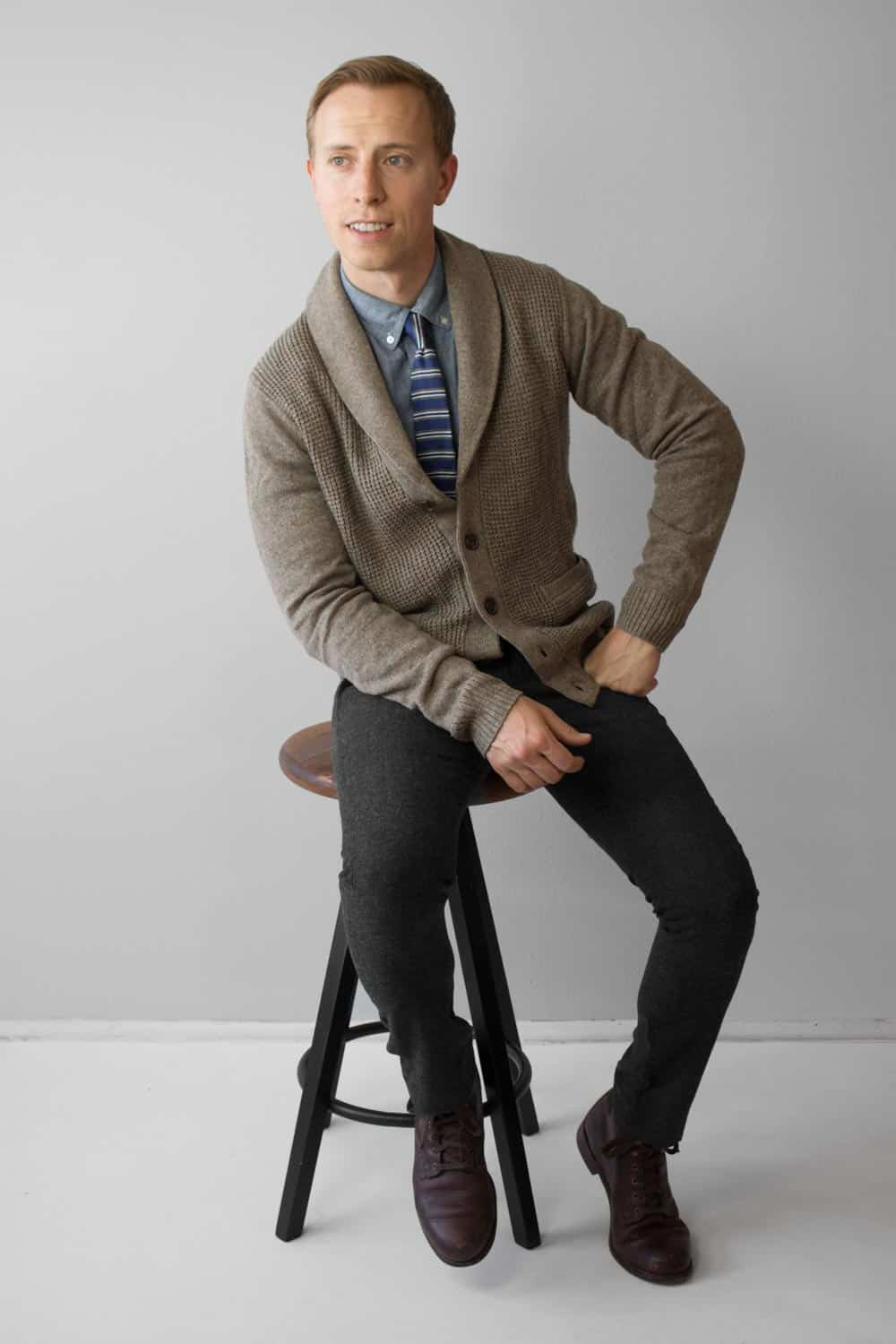 shawl collar sweater with tie