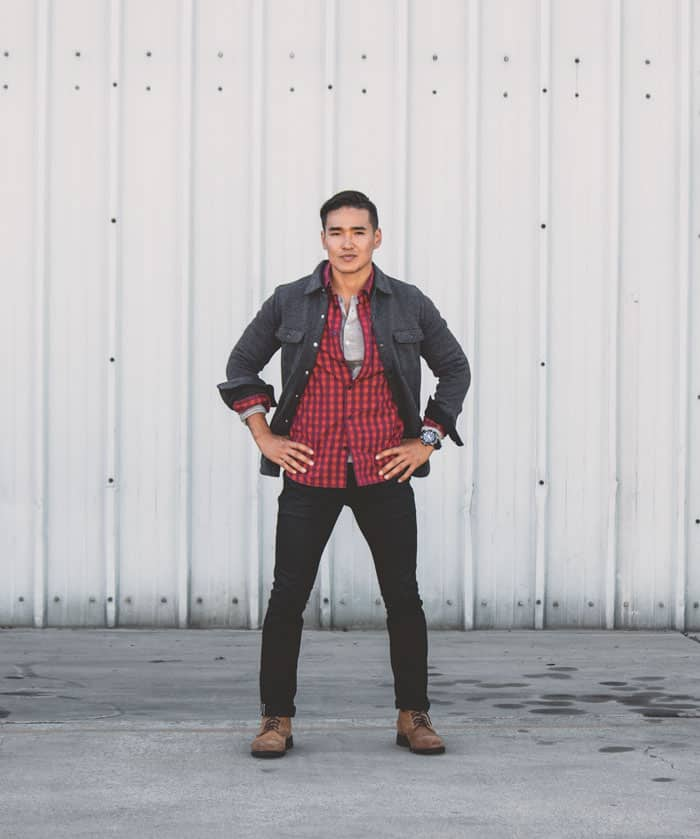 men fall outfit red flannel black jeans