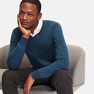 Man wearing a blue sweater