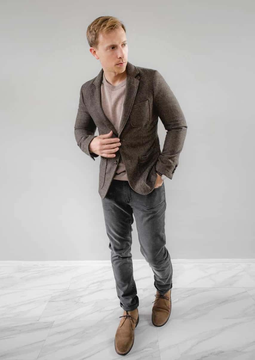 blazer and sweater gray jeans chukka boots men outfit fashion