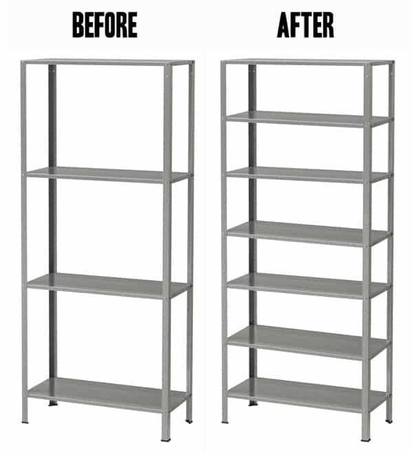 Ikea bookshelf hack before and after