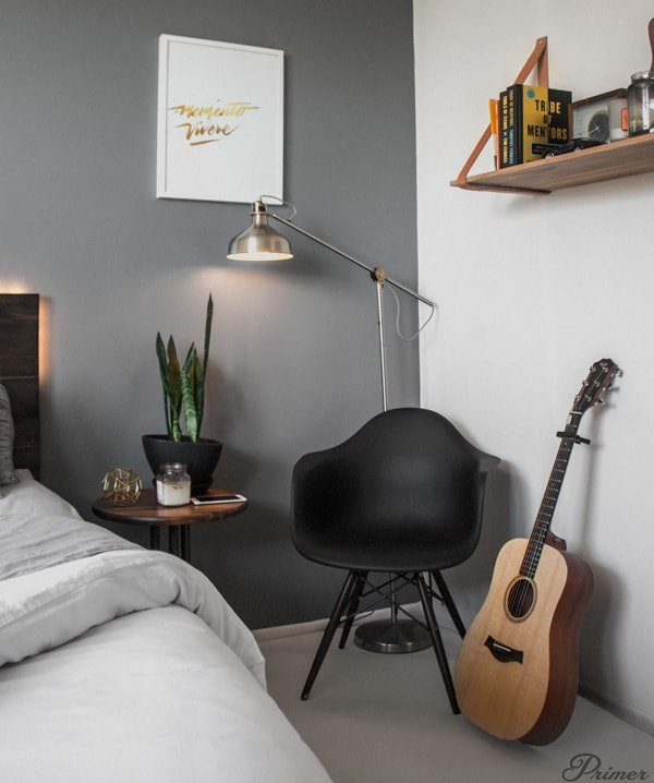eames bucket chair in bedroom