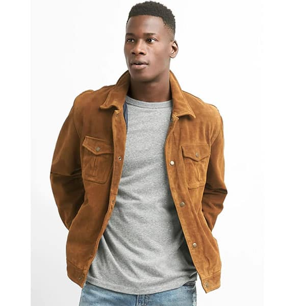 Image of Suede shirt jacket from Gap