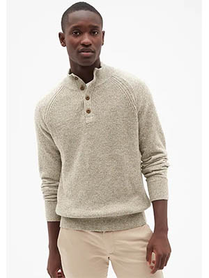Tan moc neck sweater