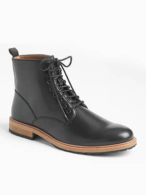 Black boots with brown sole