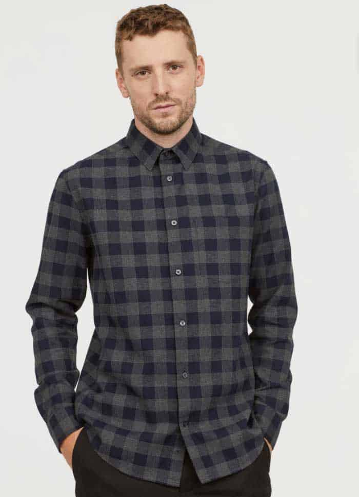 Image of H&M men's regular fit flannel shirt