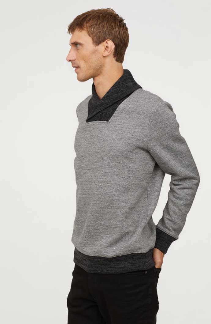 Image of H&M men's shawl-collar sweatshirt