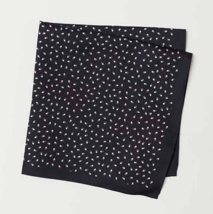 Image of H&M men's silk handkerchief with print pattern