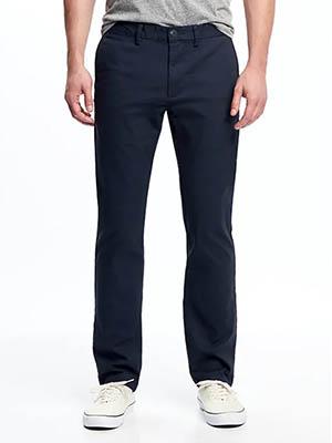 A man wearing blue pants