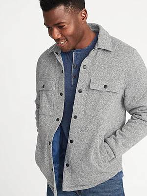 A man wearing a gray shirt jacket