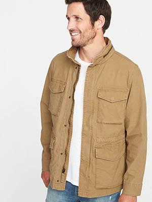 Man wearing tan field jacket