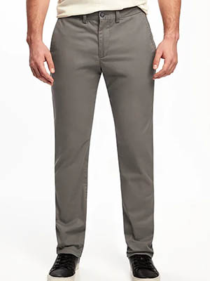 A man wearing Old Navy gray pants
