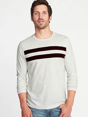 Man wearing striped tshirt