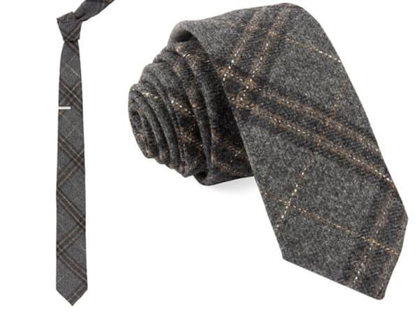 2 photos of a plaid tweed tie