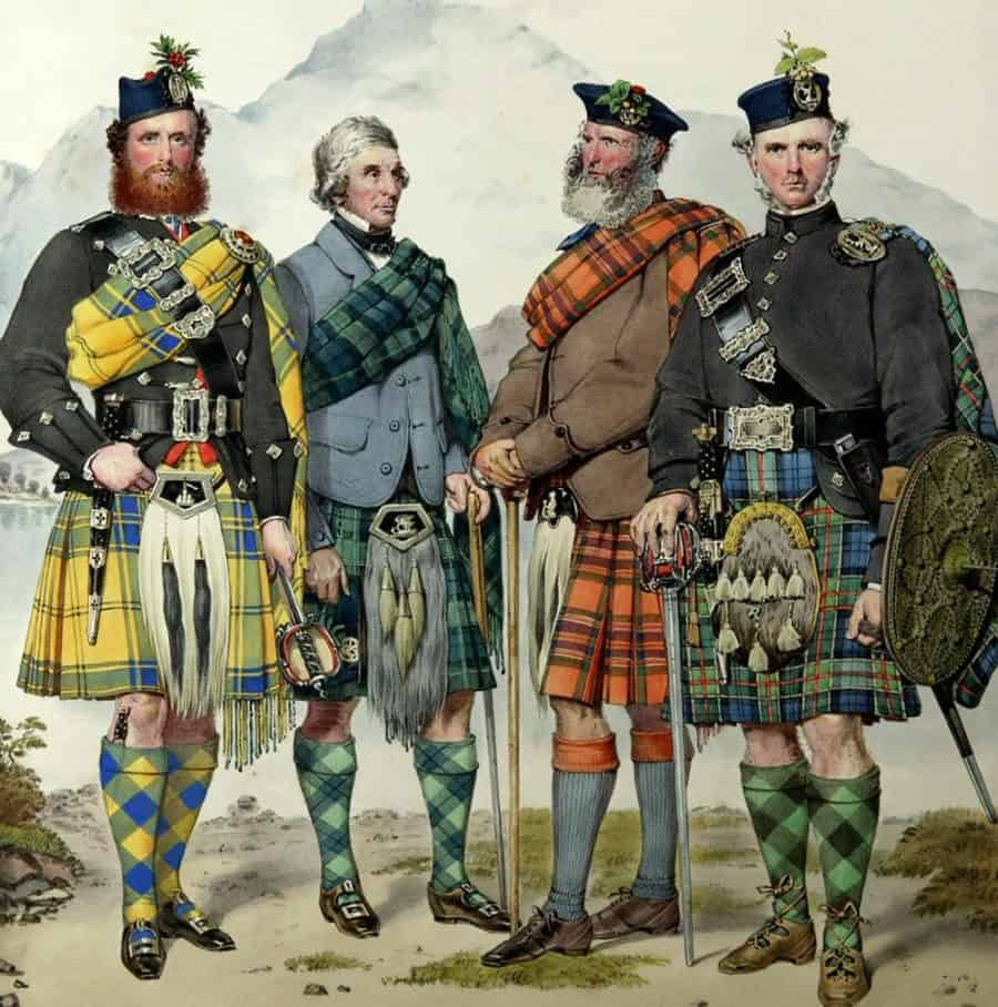 Painting of Scottish kilts