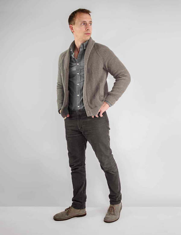 shawl collar cardigan smart casual outfit