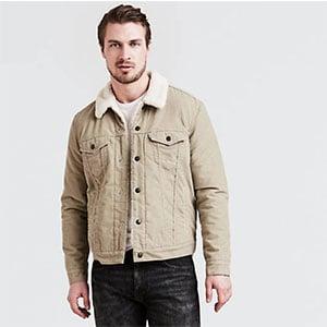 Tan trucker jacket with sherpa collar