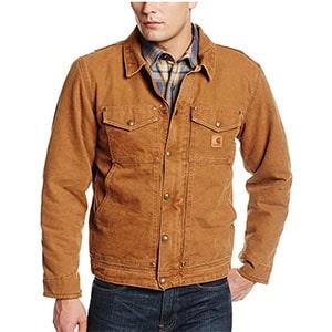 A tan trucker jacket by carhartt