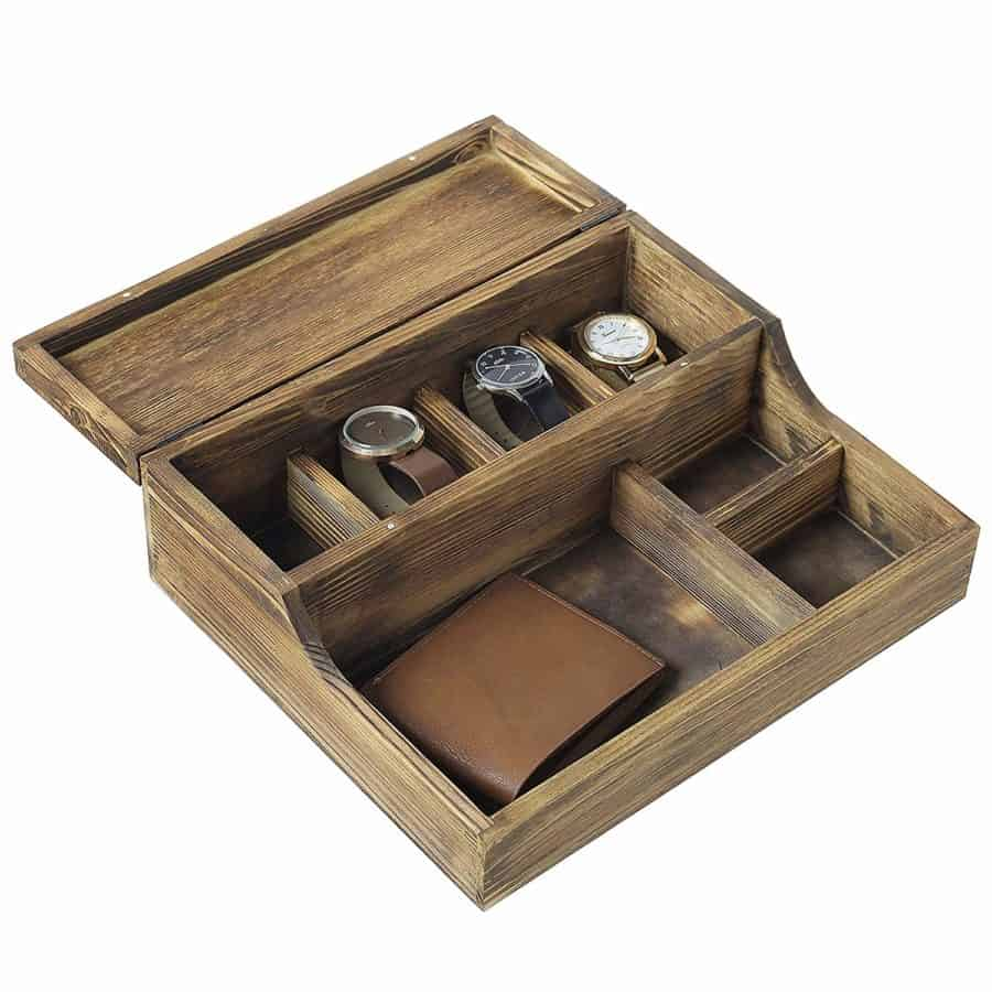 Image of MyGift Rustic Brown Burnt Wood Tabletop Watch Case & Dresser Valet Tray