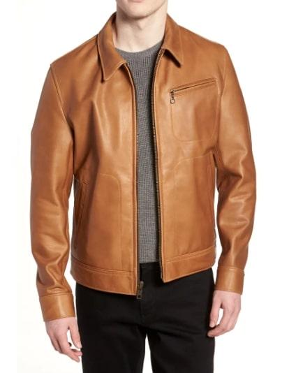 A tan leather jacket
