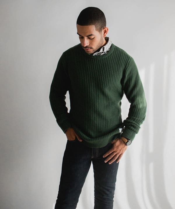 men green sweater fall outfit idea