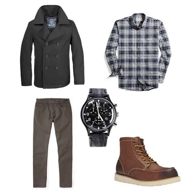 Capsule outfit with pea coat, flannel shirt, brown pants, watch and moc toe boots