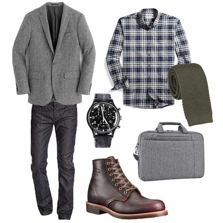 men fall and winter capsule wardrobe   sportcoat flannel service boot