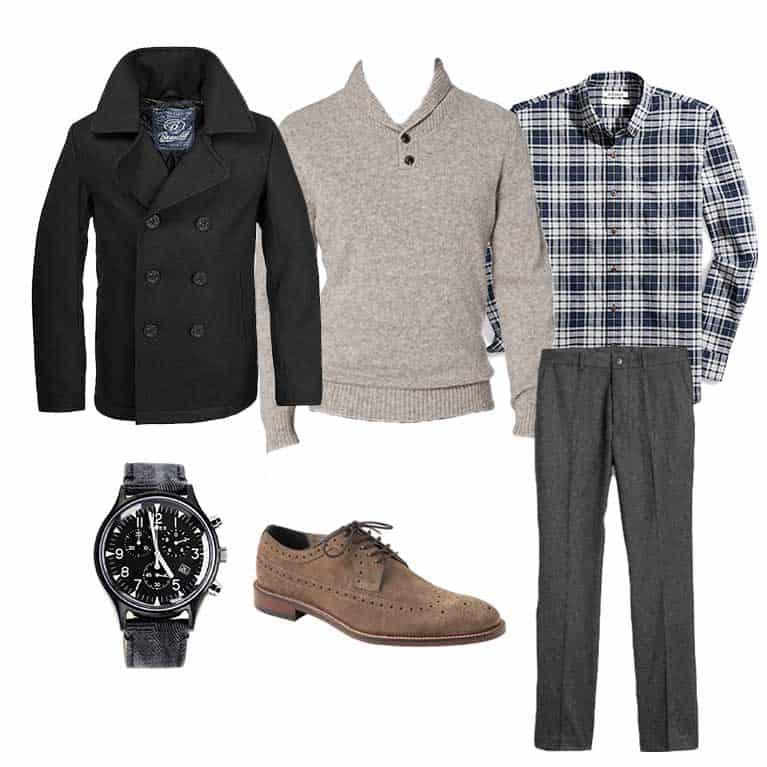 men fall and winter capsule wardrobe   peacoat flannel