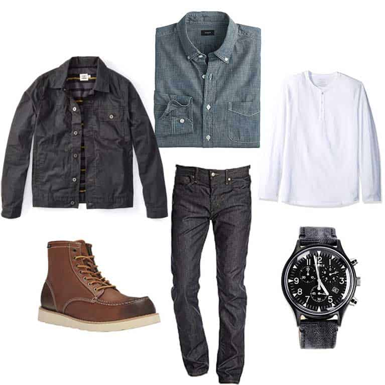 men fall and winter capsule wardrobe - chambray shirt moc toe boots henley
