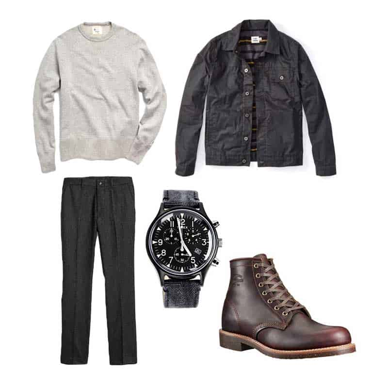 men fall and winter capsule wardrobe - crew sweatshirt boots