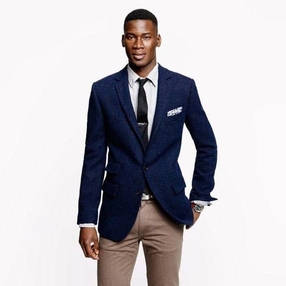 navy blazer with tie and chinos