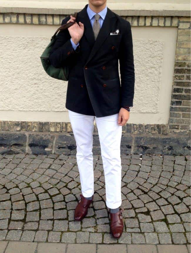 double breasted navy blazer with white pants
