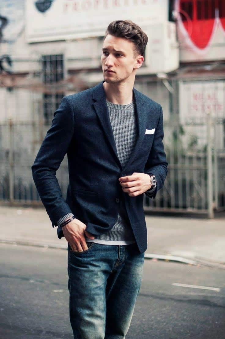 navy blazer over sweater