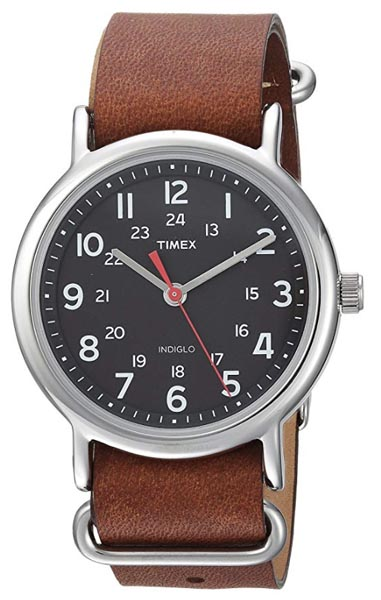 Black timex watch with leather strap