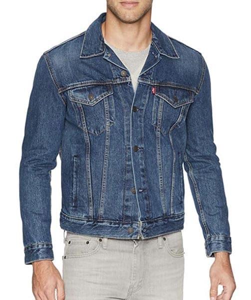 A man wearing a blue jacket