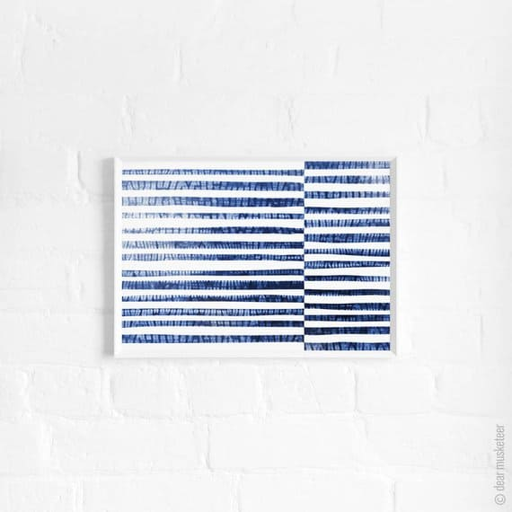 Image of Shibori Stripes A3 Art Print, Abstract Blue Ocean Poster, Abstract Blue Sea, Large Print, Wall Decor