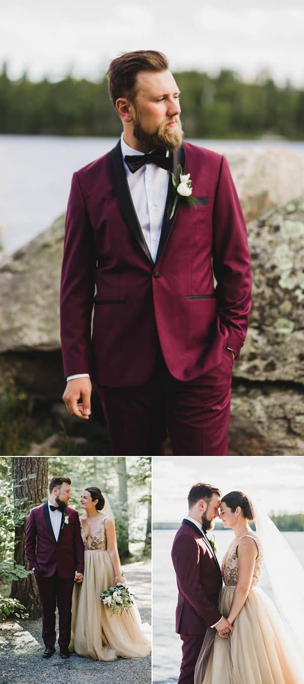 burgundy wedding suit